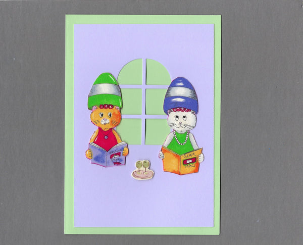Handmade Fabric Spa Day Gossip Time Cat Blank Greeting Card