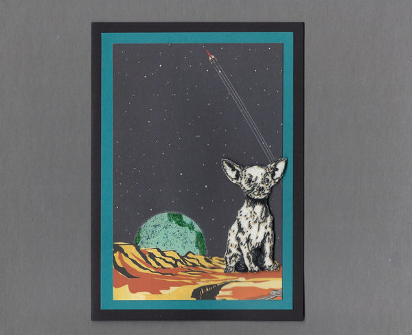 Handmade Fabric Space Dogs Chihuahua Dog Blank Greeting Card