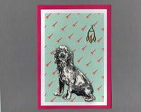 Handmade Fabric Space Dogs Cavalier King Charles Spaniel Dog Blank Greeting Card