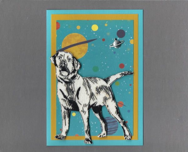 Handmade Fabric Space Dogs Labrador Retriever Dog Blank Greeting Card