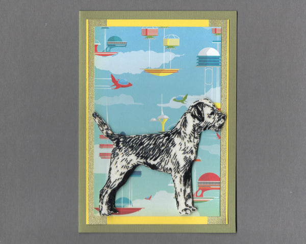 Handmade Fabric Space Dogs Terrier Dog Blank Greeting Card