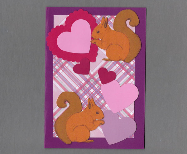 Handmade Fabric Squirrel Love Valentine's Day Blank Greeting Card