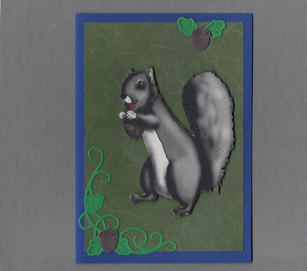 Handmade Fabric Squirrel Hoarding Acorns Blank Greeting Card
