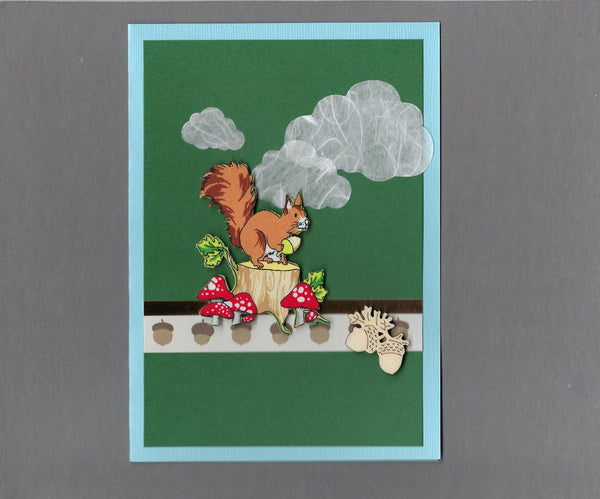 Handmade Fabric Squirrel Collecting Acorns and Mushrooms Blank Greeting Card