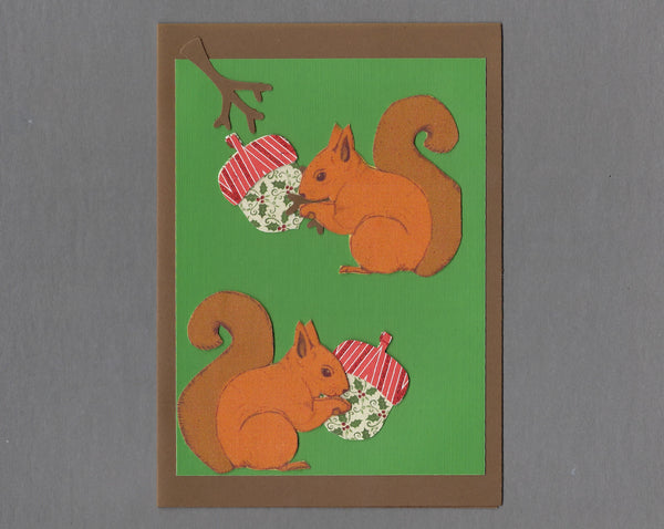 Handmade Fabric Acorn Christmas Squirrel Christmas Blank Greeting Card