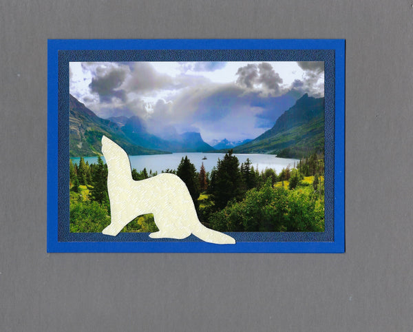 Handmade Fabric Cream Ferret at St. Mary's Lake Ferret Blank Greeting Card