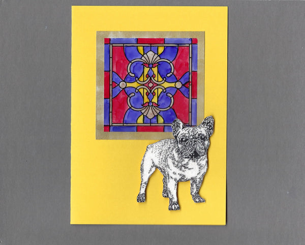 Handmade Fabric Stained Glass Boston or French Bulldog Dog Blank Greeting Card