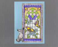 Handmade Fabric Stained Glass Chihuahua Dog Blank Greeting Card