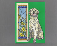 Handmade Fabric Stained Glass Golden Retriever Dog Blank Greeting Card
