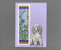 Handmade Fabric Stained Glass Poodle Dog Blank Greeting Card