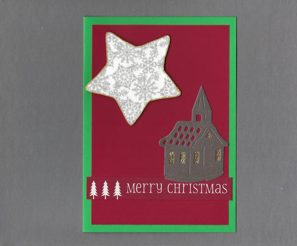 Handmade Fabric Church Star Christmas Holiday Blank Greeting Card