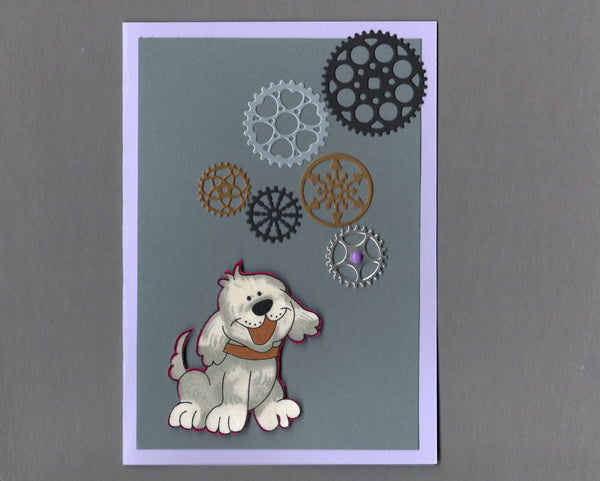 Handmade Fabric Silly Steampunk Gray Puppy Dog Blank Greeting Card
