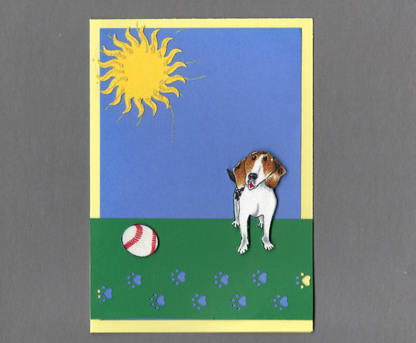 Handmade Fabric Sunshine and Baseball Beagle Dog Blank Greeting Card