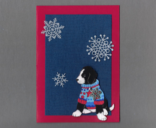 Handmade Fabric Black & White Sweater Puppy Snowflake Christmas Blank Greeting Card
