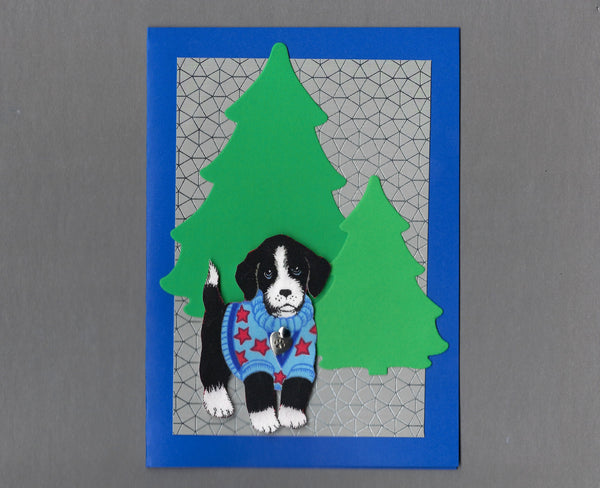 Handmade Fabric Black & White Sweater Puppy Trees Christmas Blank Greeting Card