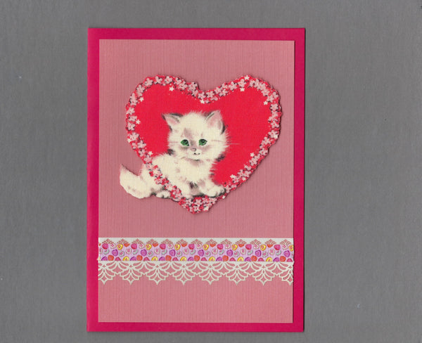 Handmade Fabric Sweetheart Kitten Love Valentine's Day Blank Greeting Card