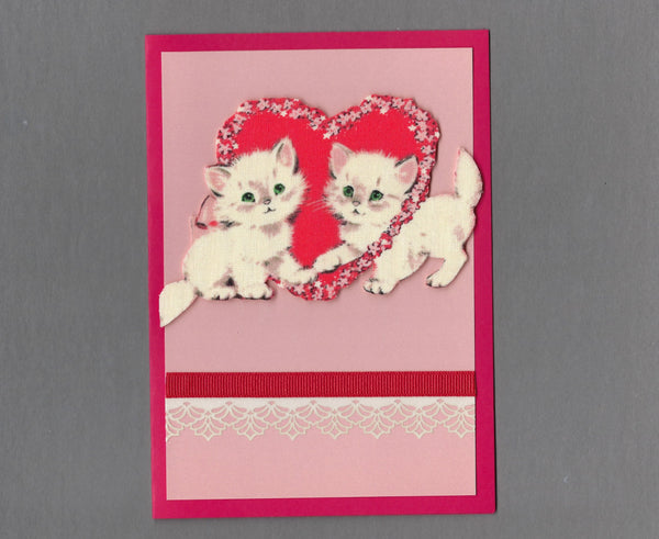 Handmade Fabric Sweetheart Kittens Holding Paws Love Valentine's Day Blank Greeting