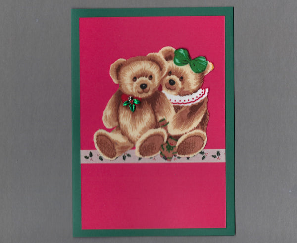 Handmade Fabric Teddy Bear Couple Christmas Blank Greeting Card