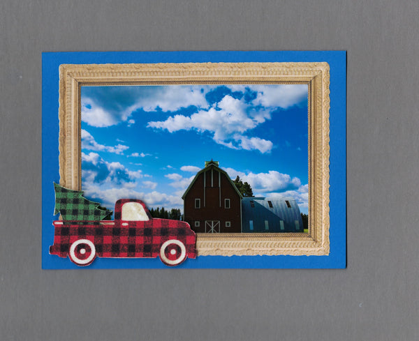 Handmade Fabric Buffalo Checked Truck Christmas Holiday Blank Greeting Card