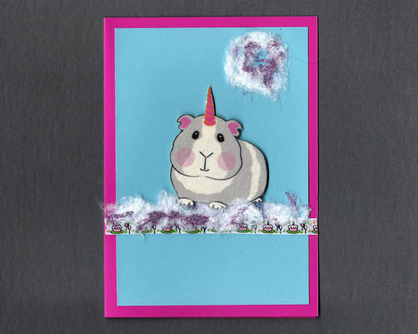 Handmade Fabric Girl Unicorn Hamster Blank Greeting Card