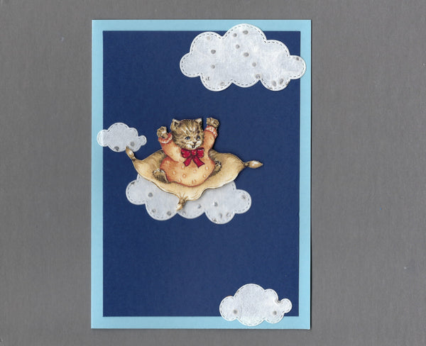 Handmade Fabric Vintage Kitten Flying High Cat Blank Greeting Card