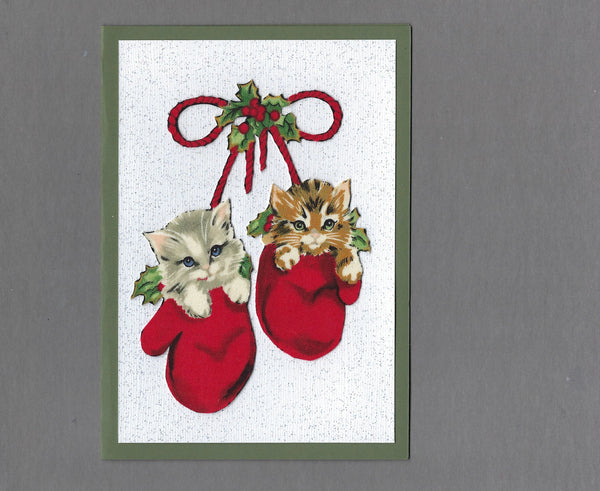 Handmade Fabric Vintage Kittens in Mittens Cat Blank Christmas Greeting Card