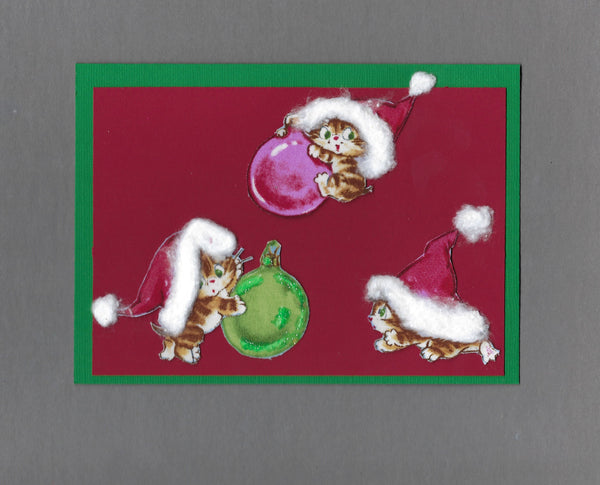 Handmade Fabric Vintage Kittens Playing with Ornaments Cat Christmas Blank Greeting Card