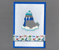 Handmade Fabric Red Fish Blue Fish Walrus Christmas Blank Greeting Card