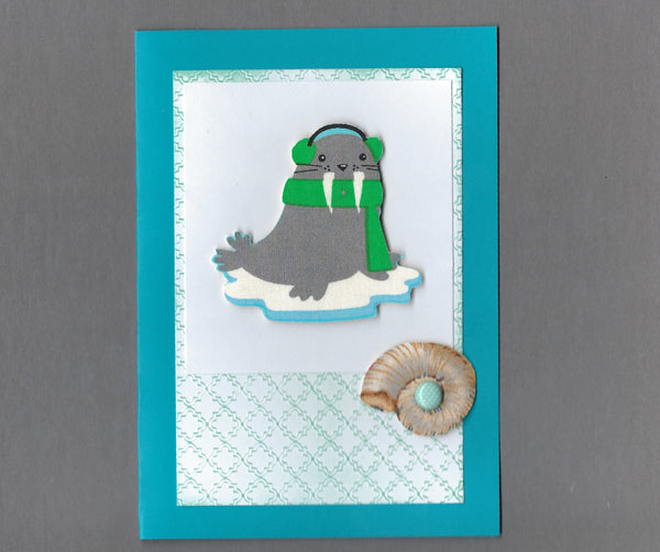Handmade Fabric Shell Loving Walrus Christmas Blank Greeting Card