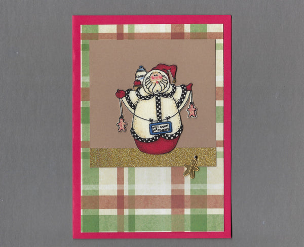 Handmade Fabric Weeble Santa with Gingerbread Christmas Blank Greeting Card