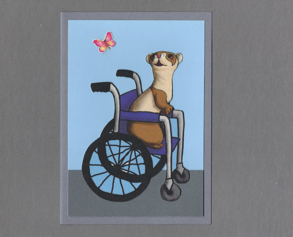 Handmade Fabric Wheelchair Ferret Blank Greeting Card