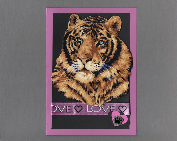 Handmade Fabric Tiger Love Valentine's Day Blank Greeting Card