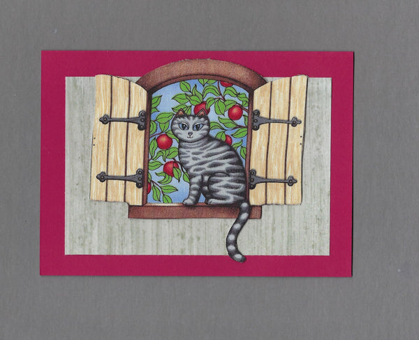Handmade Fabric Window Sitter Apple Orchard Cat Blank Greeting Card