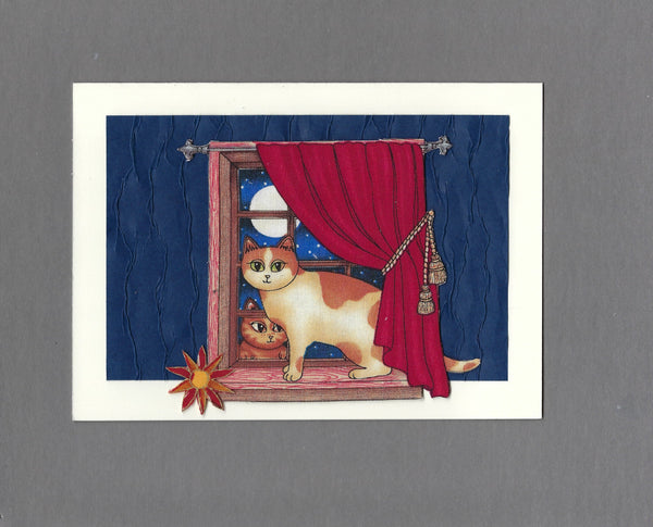Handmade Fabric Window Sitter Moonlit Night Cat Blank Greeting Card