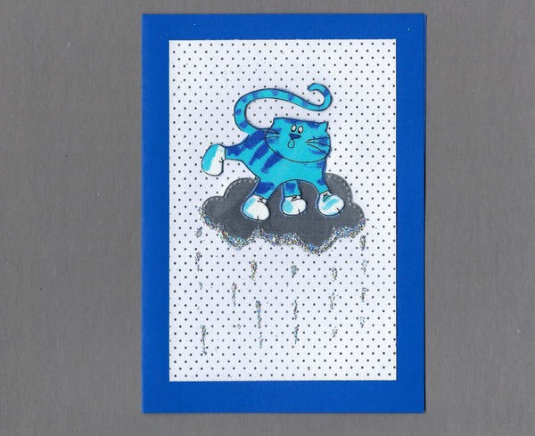 Handmade Fabric Winter Cats Cloud Surfing Cat Blank Christmas Greeting Card