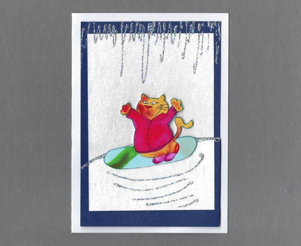 Handmade Fabric Winter Cats Snowboarding Cat Blank Christmas Greeting Card