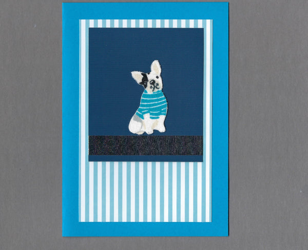 Handmade Fabric Sweater Dogs Boston Dog Blank Greeting Card