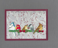 Handmade Fabric Winter Birds Berry Bough Christmas Blank Greeting Card