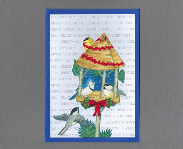 Handmade Fabric Winter Birds Bird Feeder Blank Greeting Card