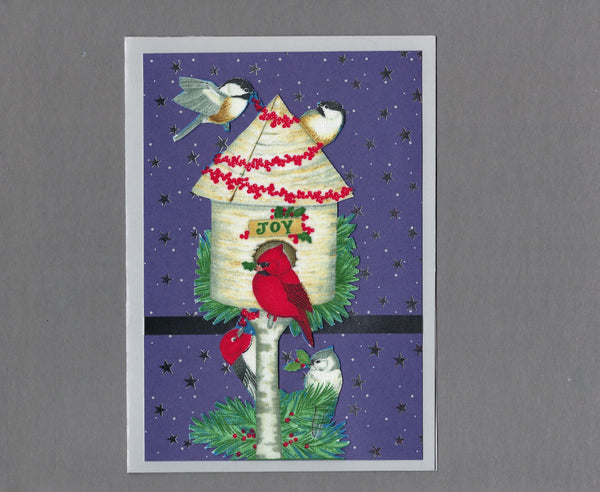 Handmade Fabric Winter Birds Joy Birdhouse Christmas Blank Greeting Card