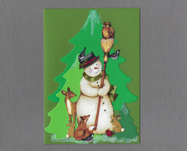 Handmade Fabric Snowman with Birds and Critter Christmas Holiday Blank Greeting Card
