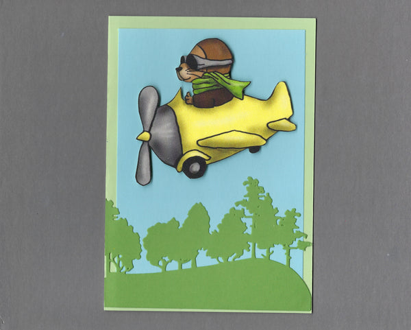 Handmade Fabric Yellow Plane Ferret Blank Greeting Card