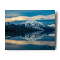 Lenticular Sunset Reflection over Lake McDonald Glacier National Park 8 X 10 Photographic Metal Print