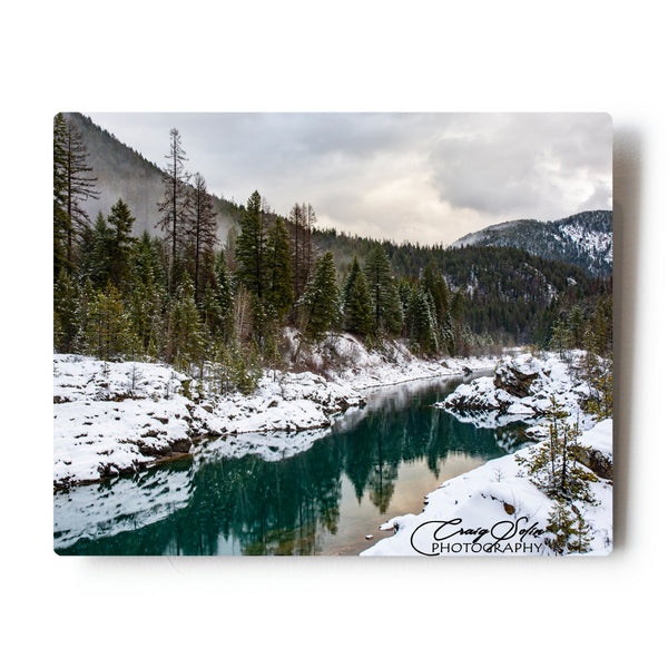 Snowy Middlefork Of The Flathead River 8 X 10 Photographic Metal Print