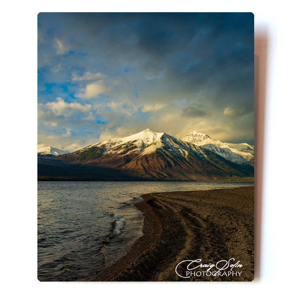 Sunset Patterns Along The Lake McDonald Shoreline In Glacier National Park 8 X 10 Photographic Metal Print