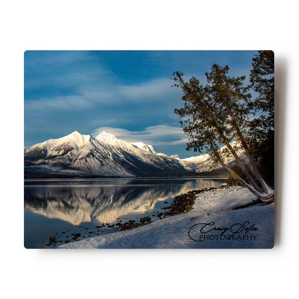 Balanced Reflections Over Lake McDonald Glacier National Park 8 X 10 Photographic Metal Print