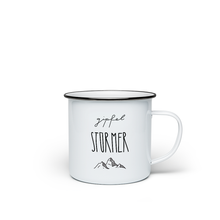 Load image into Gallery viewer, Enamel mug 'Gipfelstürmer' - the perfect mug for mountaineers