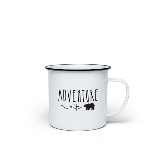 Enamel mug 'Adventure Awaits' - the perfect gift for globetrotters
