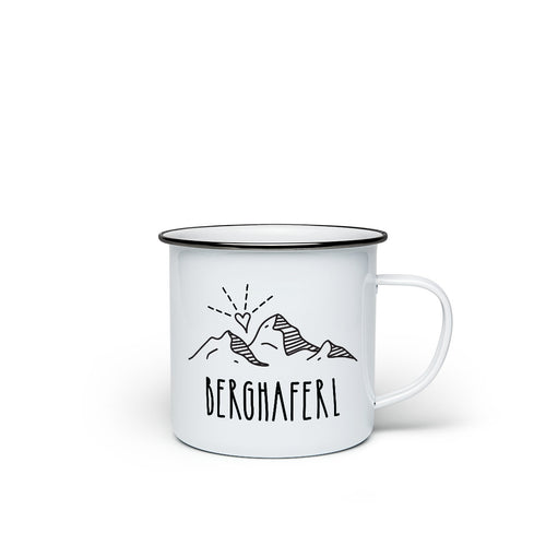 Enamel mug 'Berghaferl' - the hiking mug for mountaineers