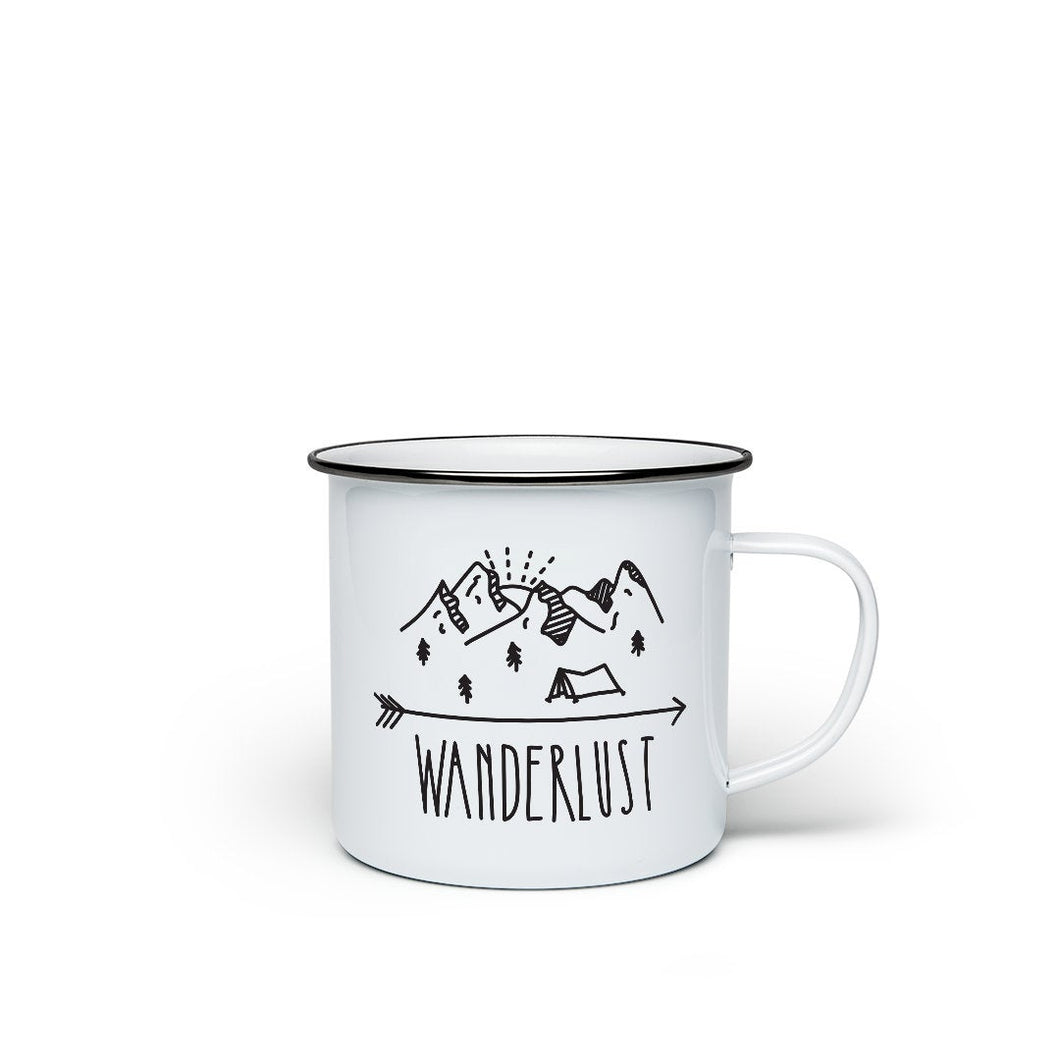 Enamel mug 'Wanderlust' - a campfire mug for the restless